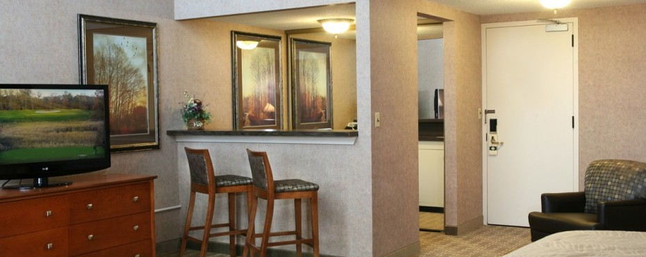 Inland view room with queen beds, dresser with TV, bar stools with wet bar, fridge, and microwave