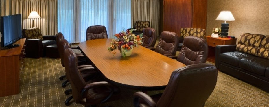 Large conference table with eight chairs, sofa, and several comfy chairs, and dresser with a tv on top